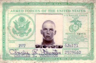 My USMC I.D. card with photo taken on my first day in boot camp